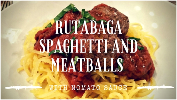 "Second Course: Rutabaga Spaghetti and Meatballs with ""Nomato"" Sauce"